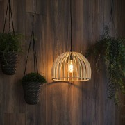 QAZQA Art Deco Round Pendant Lamp Wood 35cm - Twain