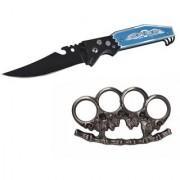prijam Pocket Knife BLK-56 (21cm) Model & CHKP-75 Fire Model Knuckle Punch Pack of 2 Products