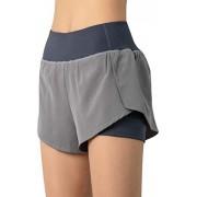 WELTOP Pantalones cortos de yoga de secado rápido y elástico de dos capas con bolsillo para el teléfono, para entrenamiento de fitness, Rosado, S