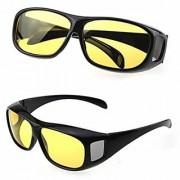 BUY 1 GET 1 FREE HD Wrap Arounds NV Night Vision Best Quality Night Club Glasses In Best Price Glasses Yellow Color (AS SEEN ON TV)