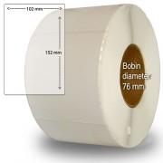 Etiketter på rulle självhäftande högblanka för bläck 102x 152mm 800 st