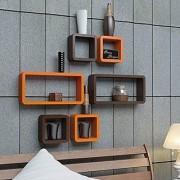 Onlineshoppee Cube Floating Wall Shelf Set of 6 (Orange)