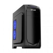 Кутия Delux DW702, ATX, M-ATX, 1x USB 3.0, 2x USB 2.0, прозорец, черна, без захранване