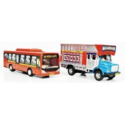 Low floor bus and Truck set of 2 quantity pull Back toys
