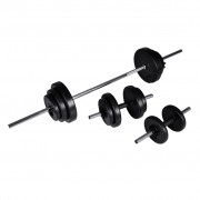 vidaXL Barbell +2 Dumbbell Set 30.5kg