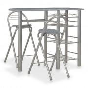 vidaXL Бар комплект от 3 части с рафтове, дърво и стомана, сив