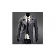 abrigo de lana estilo modelo y elegante de color gris