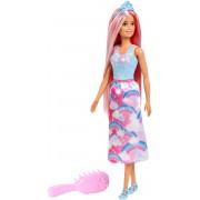 Papusa pentru fetite, Barbie Printesa cu rochita curcubeu si perie pentru par