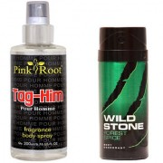 Wild Stone Forest Spice Body Deodorant 150ml and Pink Root Tag-Him Pour Homme Fragrance body Spray 200ml Pack of 2
