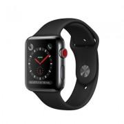 Begagnad Apple Watch Series 3 GPS + Cellular eSIM 42mm Rymdsvart Boett i Rostfritt Stål i Toppskick Klass A