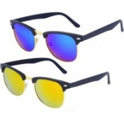 Roadway Clubmaster Sunglasses(Blue, Yellow)