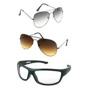 Magjons Grey Aviator Brown Aviator Sunglasses Combo Clear Driving Goggale Set of 3 With box MJJ3