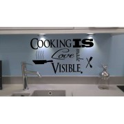 Cooking is made love visible kitchen wall decal.