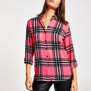 River Island Womens Neon pink check shirt (L)