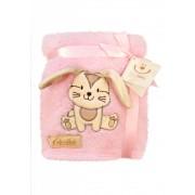Paturica plus Cute Baby 76x102 cm Iepuras roz