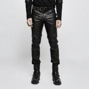 Punk Rave High Voltage Buckled Leather Pants Black K-301
