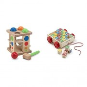 Bundle Includes 2 Items - Melissa & Doug Deluxe Pound and Roll Wooden Tower Toy With Hammer and Melissa & Doug Classic ABC Wooden Block Cart Educational Toy With 30 Solid Wood Blocks