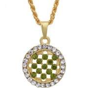 MissMister Gold Plated Round Shape Tsavorite Green CZ and White CZ Fashion Chain Pendant Women Stylish Latest