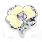Fehér árvácska Swarovski kristályos gyűrű, ezüst színű-8