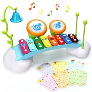 Baby Toys Xylophone for Kids Rainbow Xylophone Bridge with 8 Bright Multi-Colored Keys,Ringing Bell and Drums,The Best Musical Instrument Toys for Boys and Girls