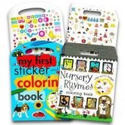 Coloring Books for Toddlers My First Book Set Baby- 2 Jumbo Beginner Featuring ABCs, Numbers, Nursery Rhymes and More (Includes Over 200 Toddler Stickers)