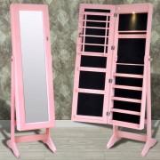 vidaXL Розов шкаф за бижута с огледало и светодиодни светлини