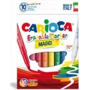 Carioca lavabila varf gros 6mm 9 culori+1 marker-cutie CARIOCA Erasable