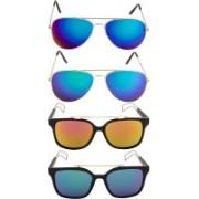 NuVew Aviator, Wayfarer Sunglasses(Blue, Green, Green, Pink)