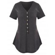 Rosegal T-shirt Chiné Demi-Bouton de Grande Taille 3X