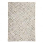 Teppich aus kurzem Echtfell Creme Weiß und Goldfarben