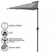 Чадър за слънце [casa.pro]® , полукръг, за стена 300 x 150 x 30 cm, Сив