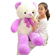 YXCSELL 4 FT 47 inches White and Purple Mixed Giant Teddy Bears Colorful Large Stuffed Plush Animals Toys for Young Ages