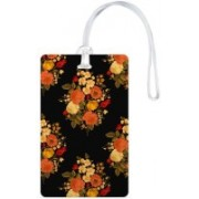 100yellow Luggage Tags- Floral Printed Black Color High Quality Gloss Finish PVC Travel/Bag Tag with Silicon Strap- Ideal For Gift Luggage Tag(Multicolor)