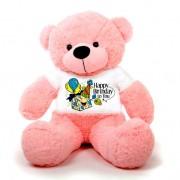 Pink 5 feet Big Teddy Bear wearing a Happy Birthday To You T-shirt