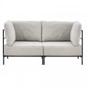 [en.casa]® Pohovka / sedacia súprava - variabilná 2 miestna - koženková - sivo-biela