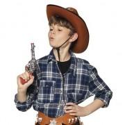 Geen Speelgoed cowboy revolver/pistool zilver 20 cm