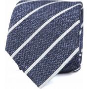 Krawatte Seide Blau Weiß Streifen K82-2 - Blau