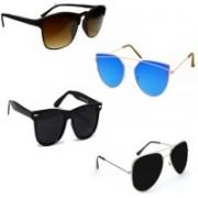 Sulit Aviator, Rectangular, Wayfarer Sunglasses(Brown, Black, Black, Blue)
