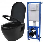 vidaXL Toaletă suspendată cu rezervor, ceramică, alb