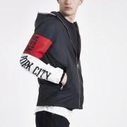 Schott Mens Schott Navy block hooded jacket (M)