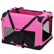[pro.tec]® Kisállat hordozó szállító táska box M 60 x 42 cm pink kutya macska