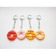 Party Ring Biscuit Silver Keyring