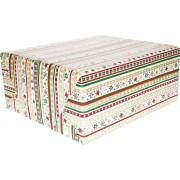 Bellatio Decorations Kerst cadeaupapier wit/rode/gouden/groene strepen en sterren70 x 200 cm