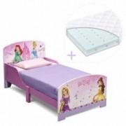 Set pat cu cadru din lemn Disney Princess Friendship si saltea pentru patut Dreamily - 140 x 70 x 10 cm