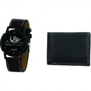 Crude Analog Watch-rg683 With Black Leather Wallet