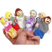 Kuhu Creations Supreme Happy Family Story Wooden Finger Puppets Multi Color (Pack of 6)