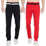 Cliths Pack of 2 Stylish Cotton Joggers For Men/ Sport lowers (Black White Black Red)