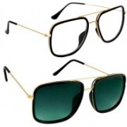 Phenomenal Retro Square, Spectacle Sunglasses(Clear, Green)