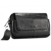 Universal Horizontal Leather Shoulder Bag - Black