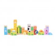 Cuburi pentru construit BigJigs Safari, 32 piese din lemn